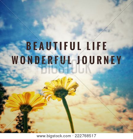 Motivational and inspirational wordings - Beautiful life, wonderful journey. With blurred vintage styled background.