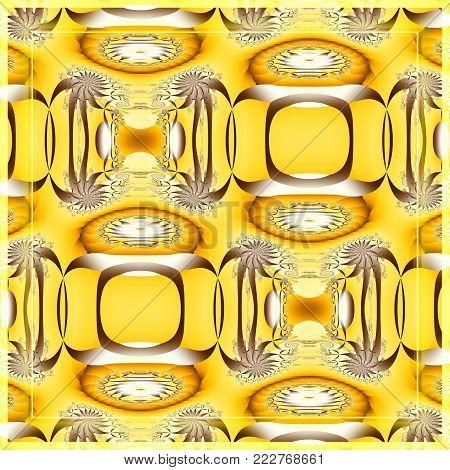 Digital fractal 3D design.The Sahara desert in yellow tones.