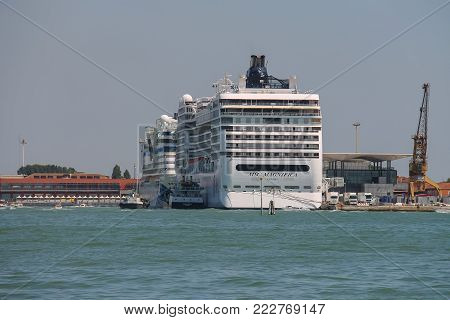 Venice, Italy - August 13, 2016: Big cruise liner ship in the Adriatic Sea