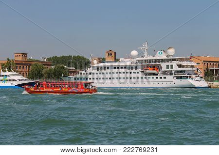 Venice, Italy - August 13, 2016: Tourist boats in the Adriatic Sea