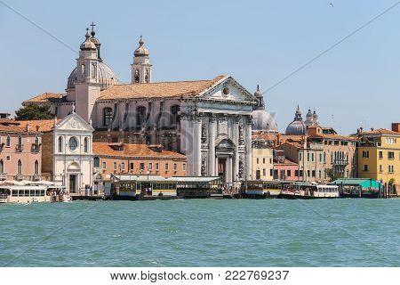 Venice, Italy - August 13, 2016: Church of Santa Maria del Rosario (Gesuati). View from Giudecca Canal