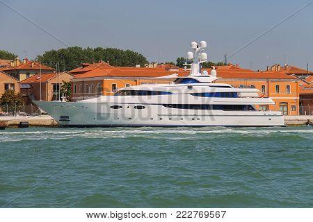 Modern passengers boat in the Adriatic Sea near Venice, Italy