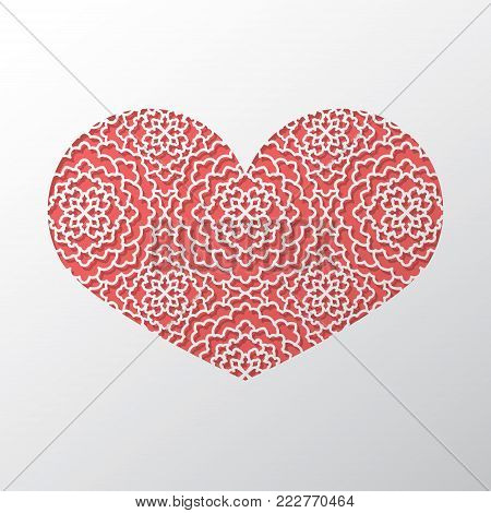 Valentine's day concept background with origami Cutout lace ornate heart. 3d paper art with ornamental pattern. Cute love sale banner or greeting card. Vector illustration. Stock clipart.