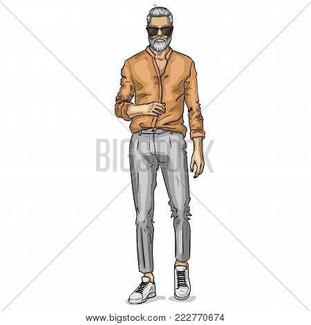 Vector man model dressed in pants, shirt, sneakers and suglasses
