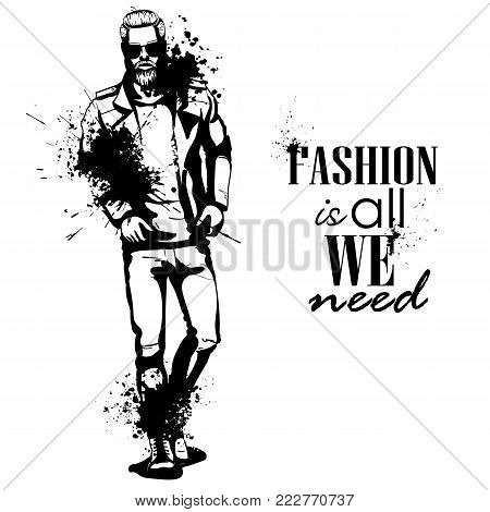 Vector man model dressed in jeans, lather jacket, shoes and T-shirt, splash stile. Fashion is all we need
