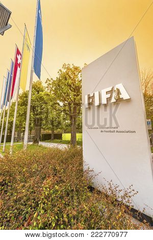Zurich, Switzerland - May 2017:  At The Entrance To The Official Fifa Headquarters