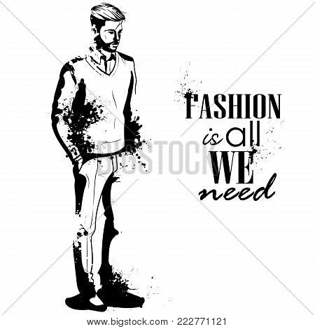 Vector man model dressed in pullover, pants and shoes, splash stile. Fashion is all we need