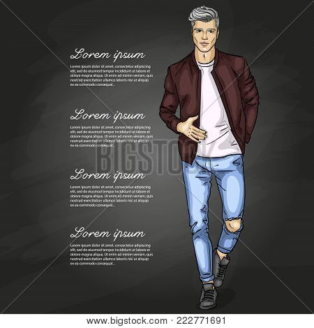 Vector man model dressed in jeans, t-shirt, bomber jacket and sneakers on a dark background