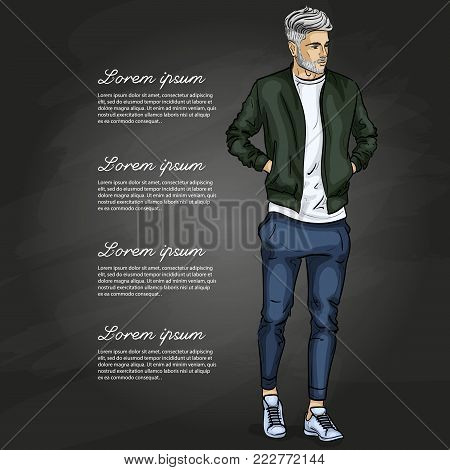 Vector man model dressed in sports trousers, t-shirt, bomber jacket and sneakers on a dark background