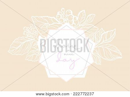 Vector elegant wedding invitation with floral bouquet. Pink cute card with lettering and art line flowers. Nude invite template. Simple design with geometric white border of hexagonal. Copy space
