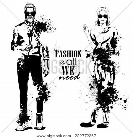 Vector woman and man fashion models, business look, splash stile. Fashion is all we need