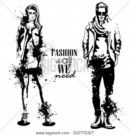 Vector woman and man fashion models, spring look, stylish outfit, splash stile. Fashion is all we need