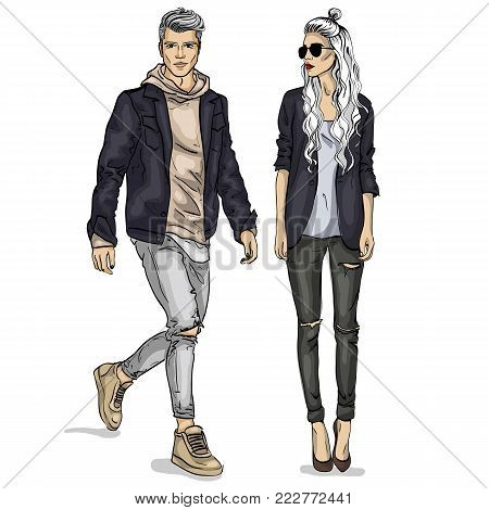 Vector woman and man fashion models, autumn look, stylish outfit