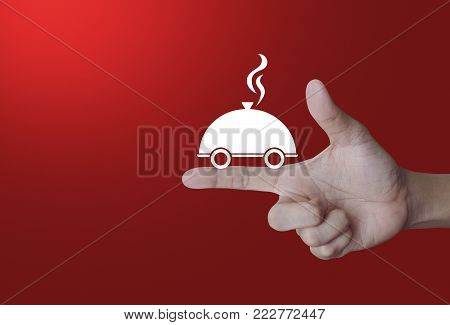 Restaurant cloche flat icon on finger over light gradient red background, Food delivery concept