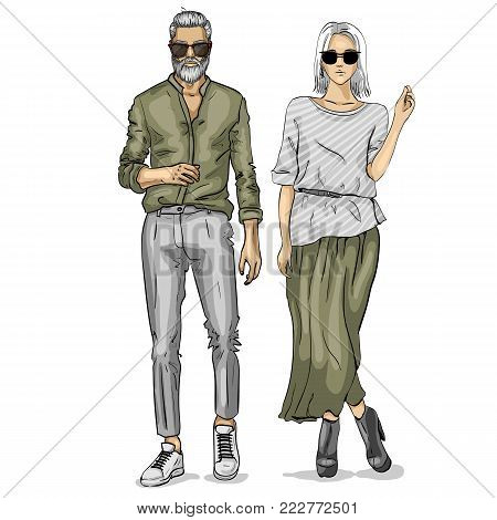 Vector woman and man fashion models, business look