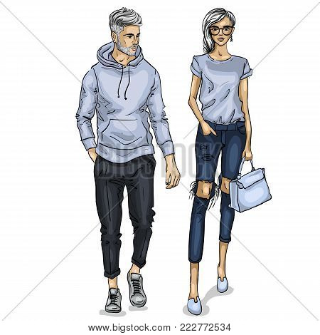 Vector woman and man fashion models, spring collage stylish outfit