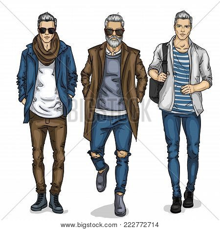 Vector man models dressed in jeans, sketch, autumn outfit