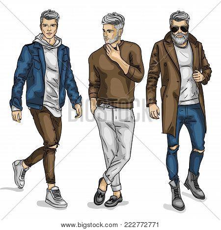 Vector man models, sketch, autumn outfit. Vector illustration EPS 10
