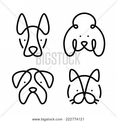 Set of pets. Vector art line style. Collection cat and dogs. Simple design of animals isolated on white background. Flat logo of bulldog, poodle, sheepdog. Symbol modern illustration. Eps.10