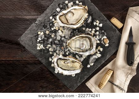 An overhead photo of freshly opened oysters on ice, with a wine cork and corkscrew, an oyster knife, and copy space, on dark textures