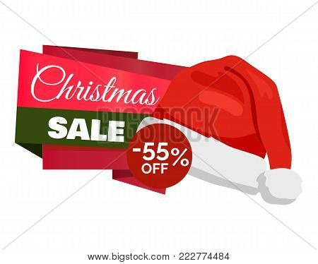 Christmas sale 55 off promo label Santa Claus hat, inscription on color ribbons advertisement badge with red winter headwear icon isolated on white