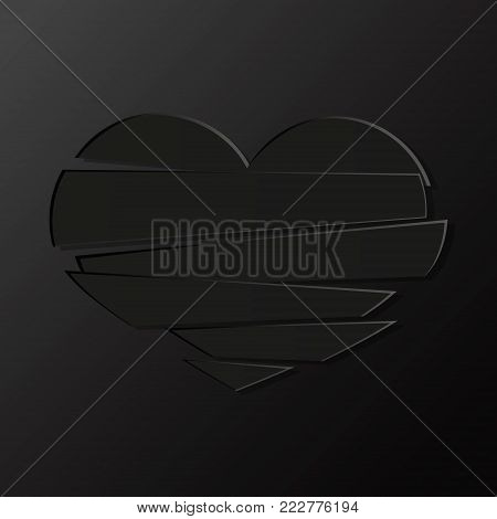 Black Stripes broken heart on black background. Could be used as icon, sign, symbol, flag, sticker, badge. Vector icon. Stock clipart.