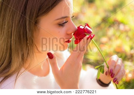 A Girl sniffing a red rose in San Valentine day