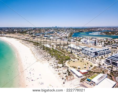 Aerial photograph over Leighton Beach, North Fremantle, Western Australia,  Australia. Perth City is visible on the horizon.