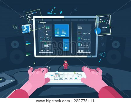 Programming and coding. Programmer writes new program. Vector flat illustration