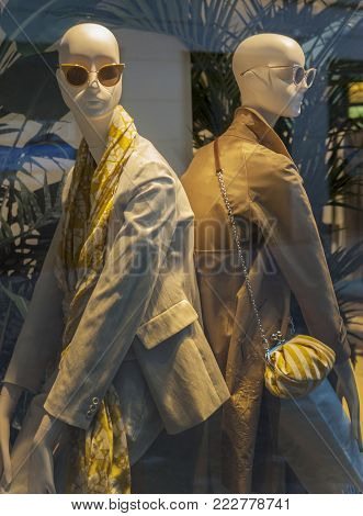 Lucerne, Switzerland - April 2017: Mannequins In The Show Window Of A Street Store