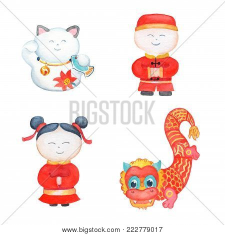 Chinese girl and boy, dragon and lucky cat watercolor illustration. China New Year postcard or banner template with text place. Chinese characters. Red and gold oriental clipart. Lunar New Year