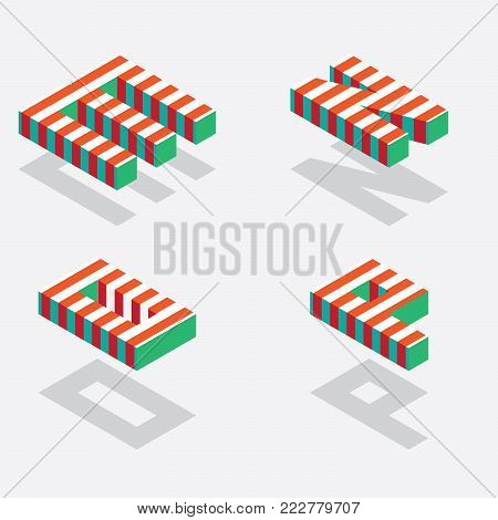 English isometric alphabet with bright red stripes and shadows. Part one, letters M N O P.