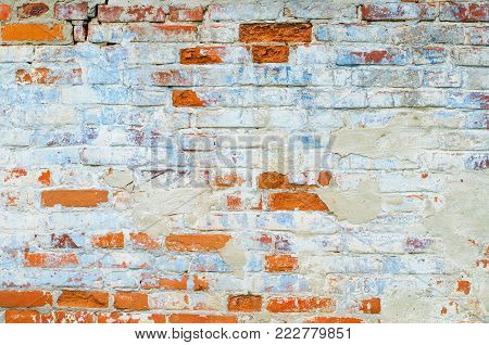 Old Red Brick Wall - Background Texture with Plenty of Copy Space