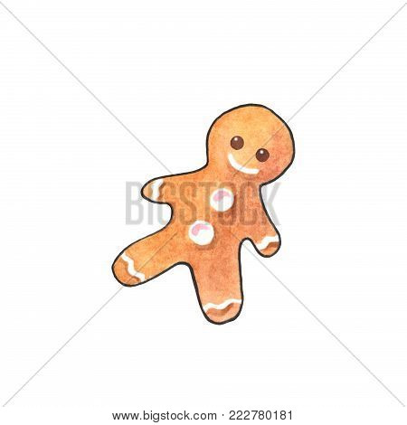 Gingerbread man watercolor illustration on white background. Traditional Christmas cookie. Ginger bread figurine clipart. Smiling gingerbread man icon. Sweet cookie with smile. Ginger cookie logo