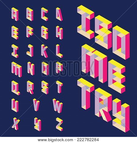 Isolated on dark background isometric letters sequence from A to Z in bright colors. Geometric abc font, good for writing quotes and lettering.