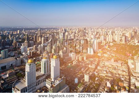 Bangkok city office building business area, cityscape background Thailand