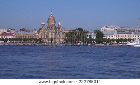 The Assumption Church is located on the coast of the Neva in St. Petersburg