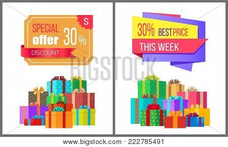 Special offer this week best price 30 off special exclusive offer sale posters piles of gift boxes wrapped in decorative color paper, vector banners