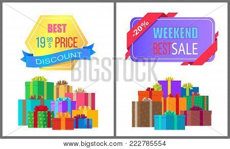 Best 19.99 price discount weekend sale special exclusive offer posters with piles of gift boxes wrapped in decorative color paper vector illustration