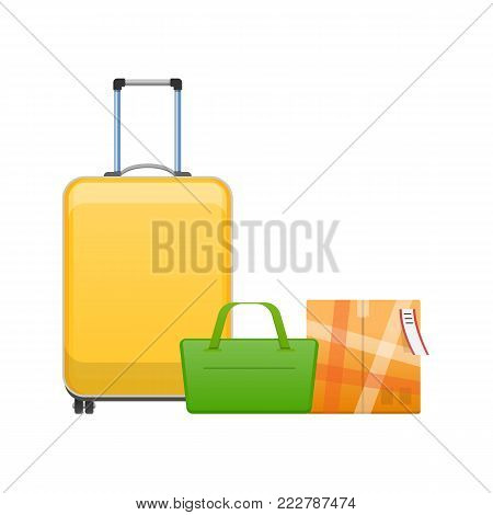 Travel suitcase on wheels, bag for everyday life, suitcase for travel, tourism. Journey package, business travel bag, trip luggage. Collection different bags, suitcases, luggage. Vector illustration