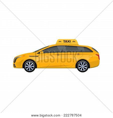 Silhouette of a yellow taxi car service, car icon, taxi call concept, passenger service. Cabin of passenger transport with comfortable salon, car side view. Vector illustration isolated.