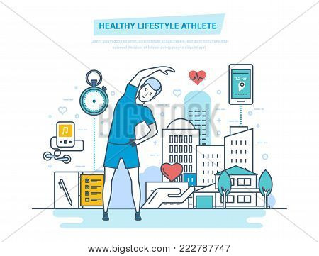 Doing sports, training, healthy lifestyle athlete. Improving body's performance, using physical exercises and professional training programs. Mobile app for sportsman. Illustration thin line design.
