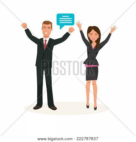 Business colleagues working cartoon characters, office workers. Partners, in office clothes, employees, in strict clothing, rejoice at success in work, financial position. Vector illustration.