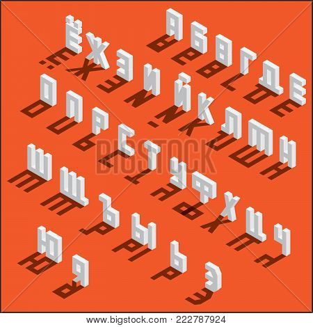Isometric russian alphabet on bright background, isolated, with drop shadows. White letters sequence, good for writing qoutes and lettering.