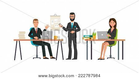 Group of employees conducts meeting, planning meeting and brainstorming colleagues, teamwork. Searching for effective solution, analyzing state of current affairs of company. Vector illustration.