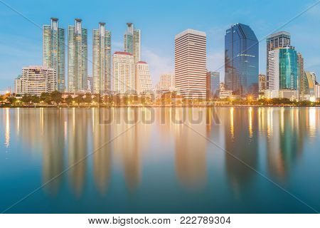 City building downtown skyline, office building business area, cityscape background