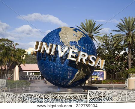 Orlando, Florida, Usa - November 3: Famous Earth Globe Icon At Universal Studios.  Taken November 3,