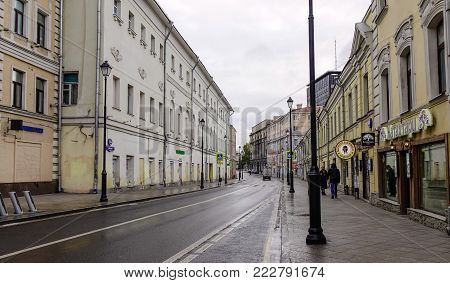 Moscow, Russia - Oct 16, 2016. Old street of Moscow, Russia. Moscow is the capital and most populous city of Russia, with 12.2 million residents.