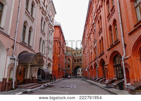 Moscow, Russia - Oct 16, 2016. Old buildings located at downtown in Moscow, Russia. Moscow is the capital and most populous city of Russia, with 12.2 million residents.