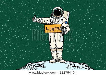 Astronaut hitch rides on Jupiter. Pop art retro vector illustration